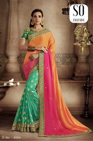 Sari Designer classique orange Rose et Vert Ratchana
