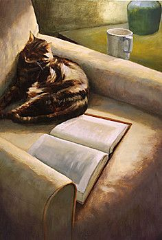Cat and book illustration by Deborah DeWit-Marchantl.  How it usually works when I'm trying to read or work and one of the cats notices.  They get the book, the sunny spot and the comfy chair and I move on if I have any hope of actually reading or working.