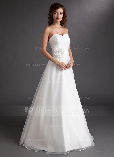 Wedding Dresses - $145.99 - A-Line/Princess Sweetheart Floor-Length Organza Satin Wedding Dress With Ruffle Flower(s) (002016728) http://jjshouse.com/A-Line-Princess-Sweetheart-Floor-Length-Organza-Satin-Wedding-Dress-With-Ruffle-Flower-S-002016728-g16728