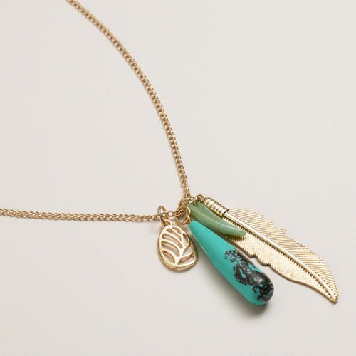 Gold Feather and Turquoise Pendant Necklace | World Market