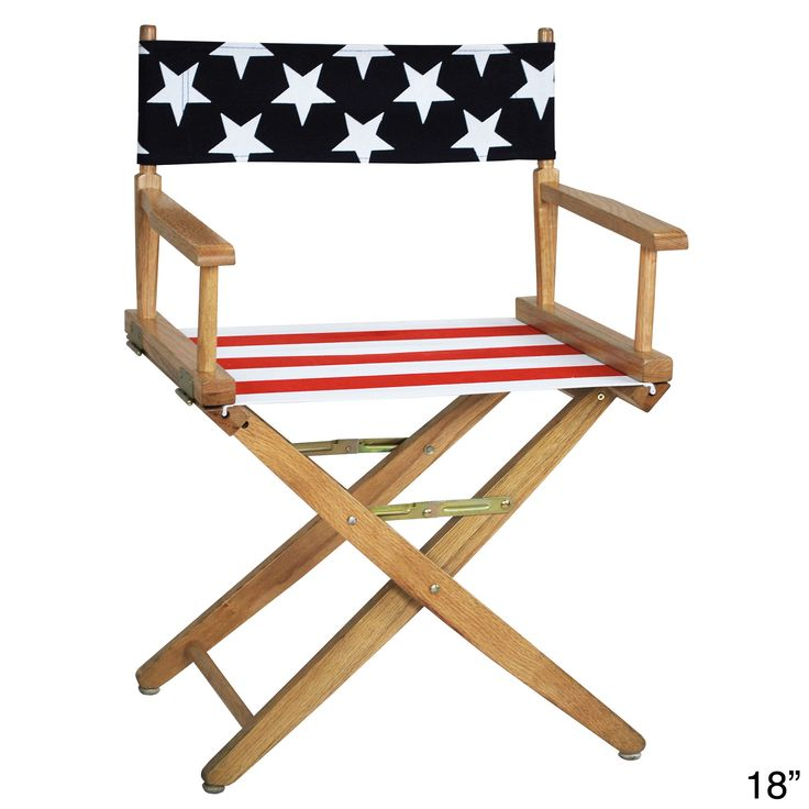 This extra-wide directors chair is made of 100-percent solid wood and features an American flag canvas cover. The chair is offered in a variety of size options, and folds in half for easy transport and storage.