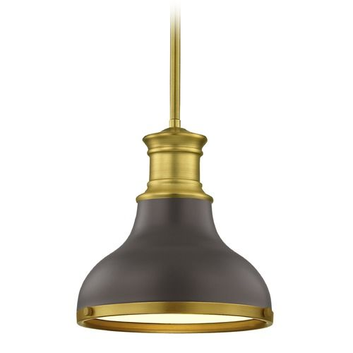 Farmhouse Bronze with Brass Small Pendant Light 8.63-Inch Wide | 1761-12 SH1778-220 R1778-12 | Destination Lighting