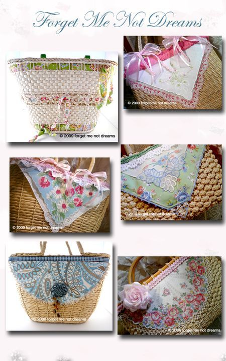 I recently acquired some beautiful handkerchiefs from my neighbor and I'm trying to find some interesting craft ideas for them. These combine the vintage hankie and a straw purse.