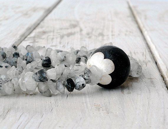 Rutilated Quartz and Lava Stone Necklace Black by SunSanJewelry