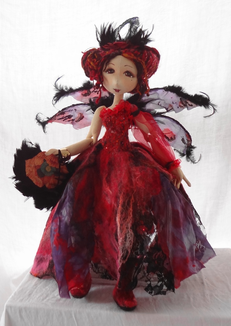 Nuno felted fairy with silk wings. by Marie Carter www.spilledpaint.com