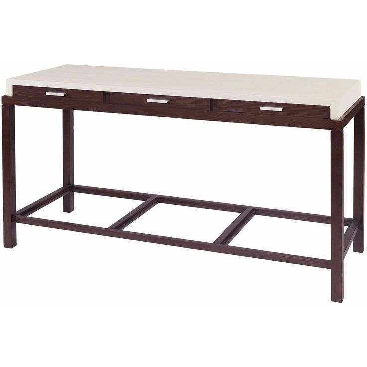 Spats 3-Drawer Rectangular Console Table in Espresso Finish with Chalk White on Ash Top by Allan Copley Designs