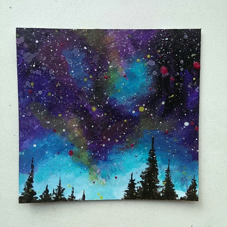 Step By Of My Mini Galaxy Painting I Used Acrylics Synthetic Brushes