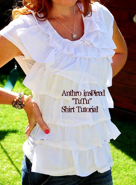 Anthro-Inspired Tutu Shirt--Tees Shirts, Sewing Projects, Anthro Inspiration Shirts, Dollar Stores, Diy Shirts, Shirts Tutorials, Ruffles Shirts, T Shirts, Stores Towels