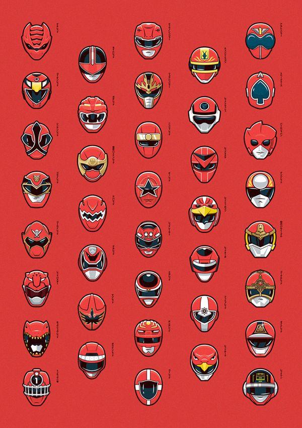 """Haa Bioman que de souvenirs...bref, Mark EASTWOOD Graphiste de profession nous offre ici une très jolie illustration baptisée """"Red-Super Sentai Serie"""" et qui rappellera des souvenirs au plus vieux..."""