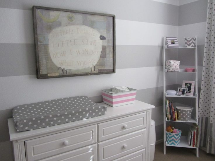 Gray and white striped nursery - perfect for a gender neutral nursery. Just add in pops of color once you know the gender! #nursery #babyNurseries Baby, Stripes Wall, Stripes Nurseries, Kids Room, Kidsroom, Projects Nurseries, Baby Room, White Stripes, Baby Nurseries