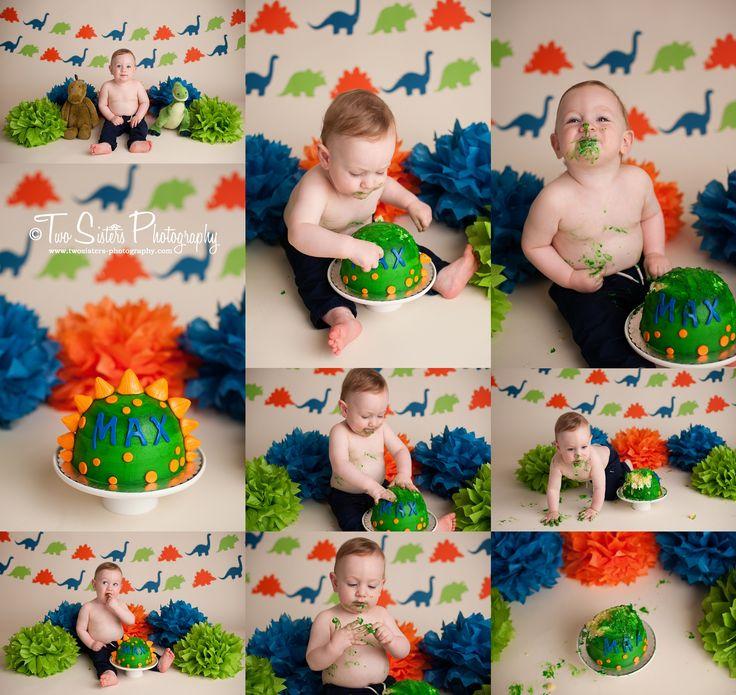 Two Sisters Photography Dinosaur cake smash session blue and orange cake smash boy cake smash, first birthday, dino