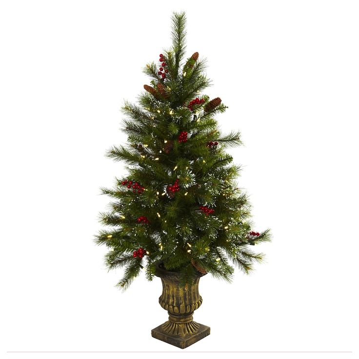 Vintage nearly natural ft Potted Pre Lit Artificial Pinecone Christmas Tree Indoor