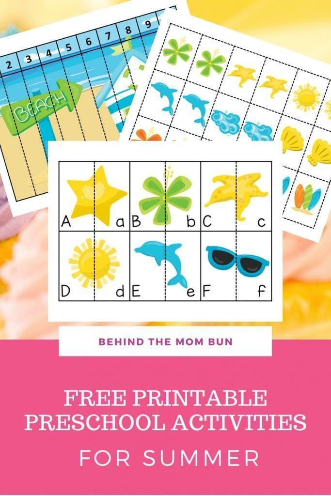 Free Printable Preschool Activities For Summer - Behind The Mom Bun In 2020  Preschool Activities, Free Printables, Pattern Activities