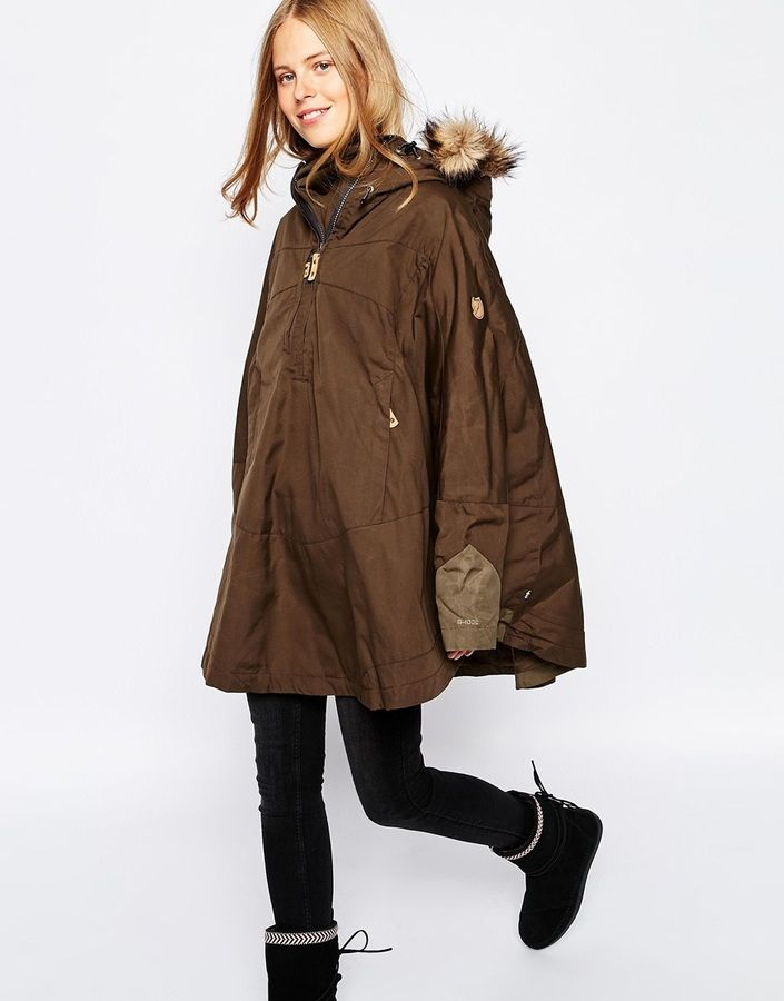 Fjallraven Waxed Cape Coat With Faux Fur Trim Hood