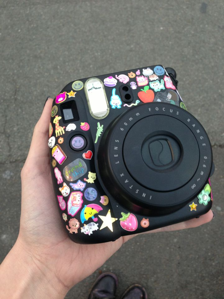 Polaroid camera with stickers