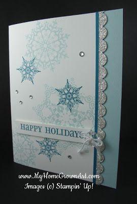 SU! Snowflake Soiree stamp set; colors are Soft Sky and Island Indigo - Deena Boos