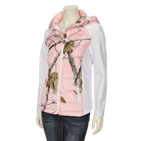 NorthCrest Womens Realtree Pink Camo Puffer Front Softshell Jacket #29.99  #Realtreecamo #OnSale