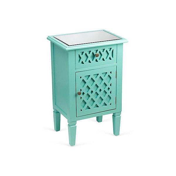 Elisabeth Cabinet Mint Cabinets & Hutches ($199) ❤ liked on Polyvore featuring home, furniture, storage & shelves, home storage furniture, storage furniture, hardware furniture, mint green furniture and bronze furniture