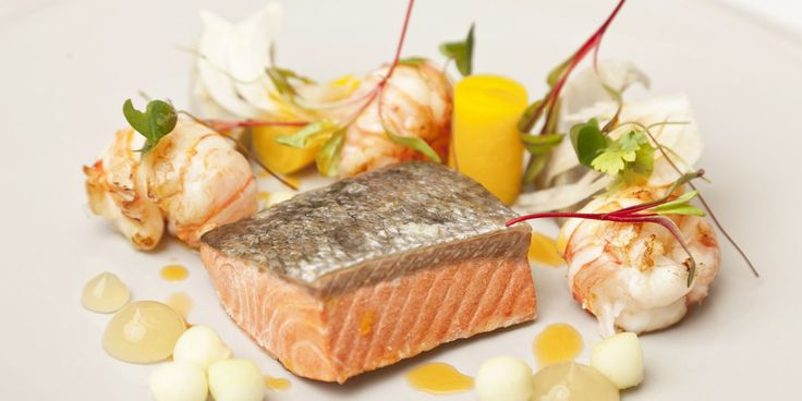 Nigel Mendham poaches Alaska salmon in stock in this wonderfully light recipe - filled with freshness from apple gel and pickled vegetables