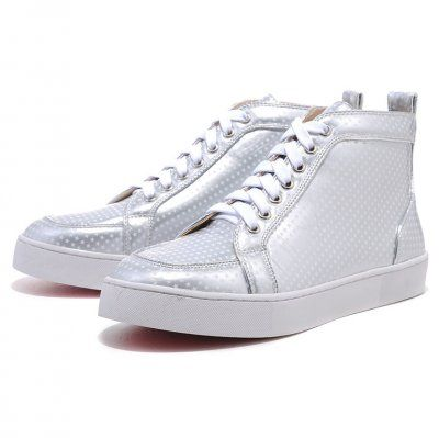 Christian Louboutin Cheap Mans Leather Sneakers Silver White Outlet Online Shoes