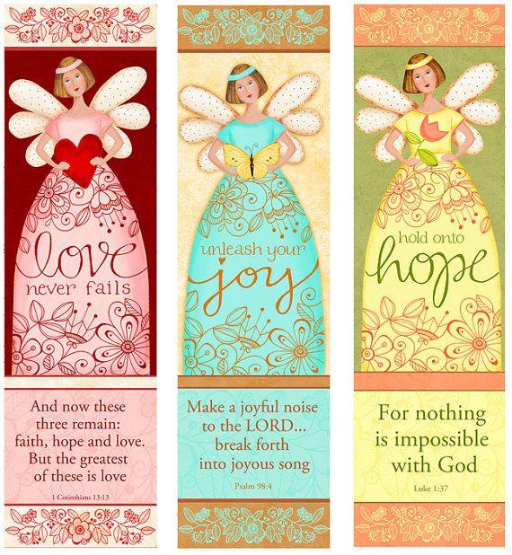 Angelic Trio - Love - Hope- Joy - Bible Bookmarks Digital Download Printable Clip Art and Crafting KD128 http://www.etsy.com/listing/94345473/angelic-trio-love-hope-joy-bible