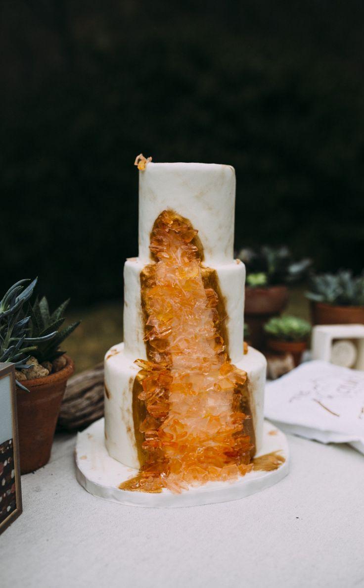 Orange geo-cake, geode, while fondant, wedding cake, boho // Fox & Owl Studios