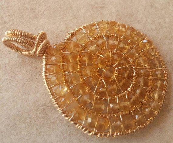 Citrine Pendant Citrine Spiral Pendant Citrine Ammonite