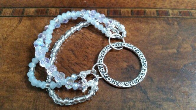 Pink Crystal Beaded Bracelet with Sterling Silver Cap Beads.  https://www.etsy.com/ca/listing/218662119/crystal-beaded-bracelet