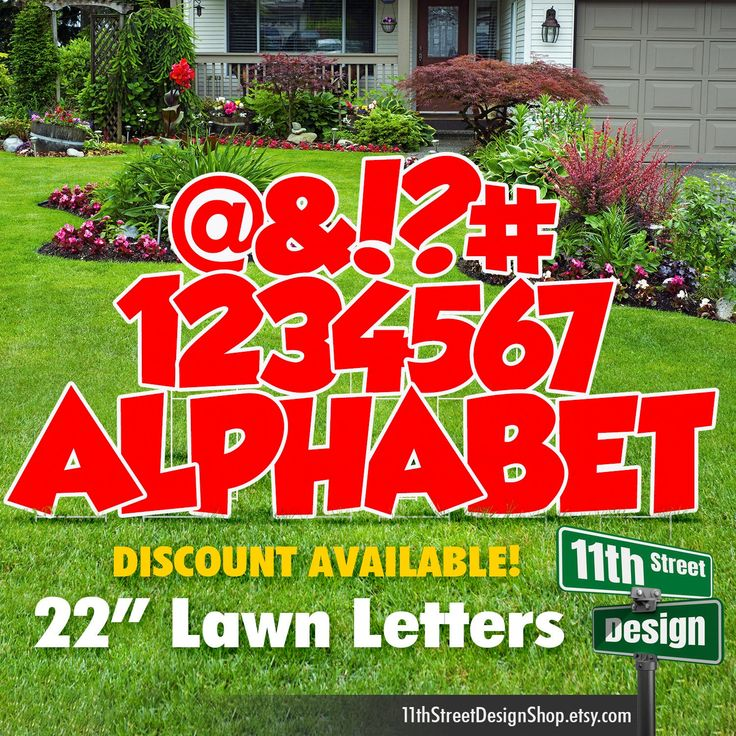 22 Red Lawn Letter Yard Signs Full Alphabet 22 Etsy In 2021 Yard Cards Yard Signs Happy Birthday Yard Signs