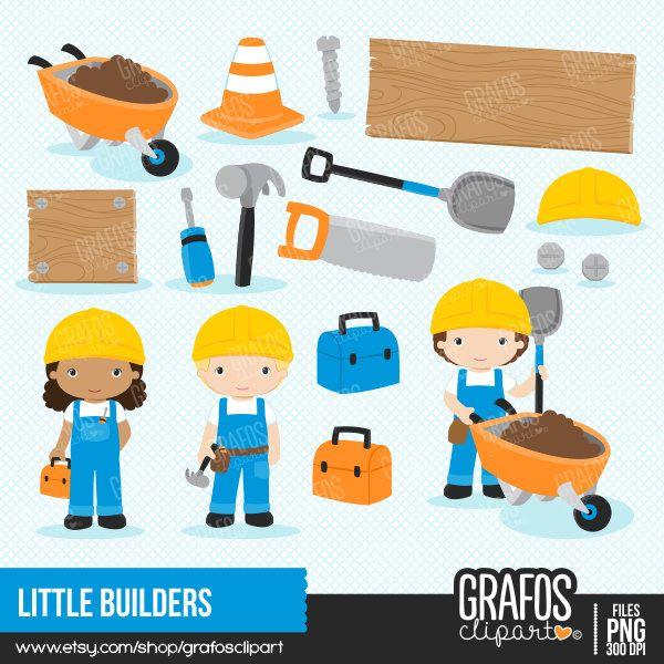 LITTLE BUILDERS  Digital Clipart Set Imagenes Niños