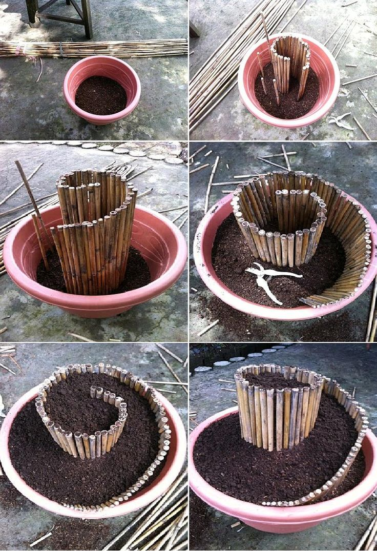 DIY Mini Spiral Garden with bamboo stakes