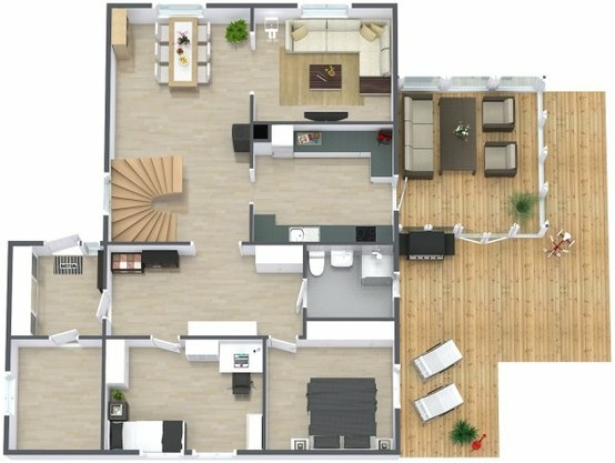 3D floor plan  aerial view of the main level of a two story home with  basement  Both interior   exterior elements shown  including wood deck   70 best 3D Plans images on Pinterest   Architecture  Models and  . 3d Home Design Images Of Double Story Building. Home Design Ideas