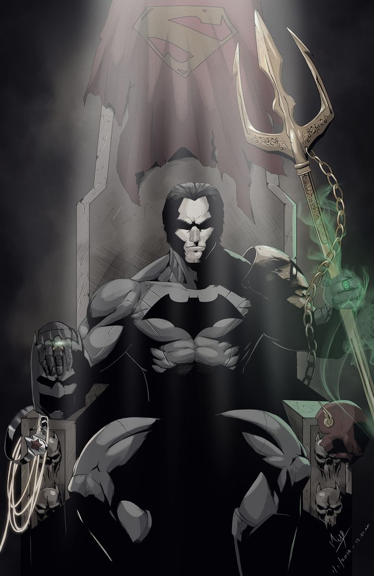 """""""The Towr of Babel""""  - DeviantArt user Niyoarts    Basically Batman being dark, destructive, and awesome. Check out the detail of the picture. I love to marvel at this picture (haha, sorry for the bad pun DC Comics fans). The picture includes Superman, Wonder Woman, the Flash, Aquaman, Green Lantern, and the Kryptonite Ring itself."""