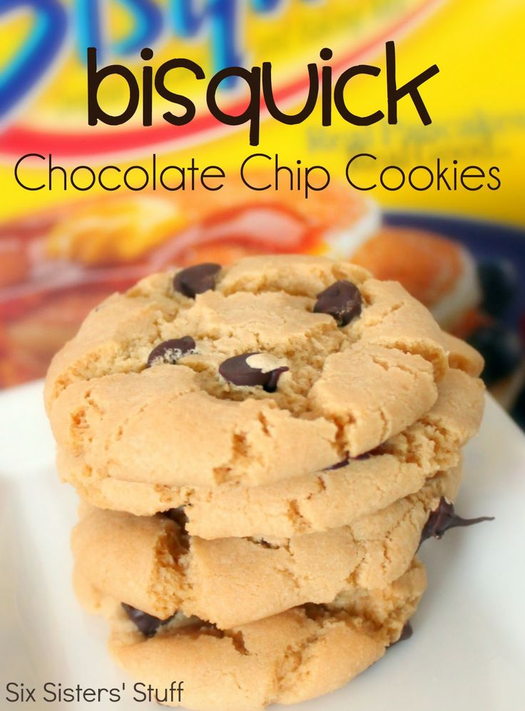 Bisquick Chocolate Chip Cookies from SixSistersStuff.com.  Some of the easiest, most delicious cookies ever! #cookies #dessert #bisquick