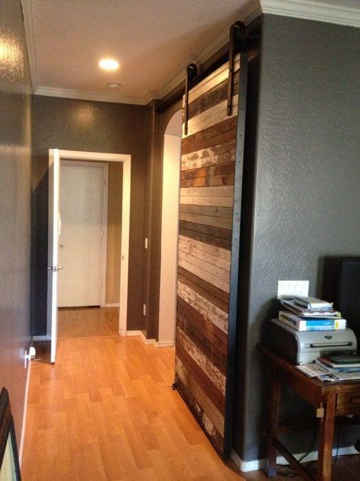 Reclaimed mixed beadboard sliding barn door sliding barn - Reclaimed wood interior barn doors ...