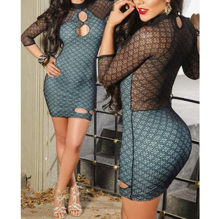 Hot sexy dresses club dress 2016 orange/black high neck lace dress with sleeves keyhole casual bodycon dress women wear A22550