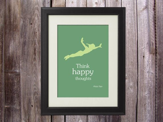 Nursery room Disney Peter Pan inspired quote think by PeBeCreative, $18.00