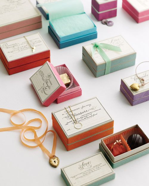 Jewelery gift boxes presented in rainbow colours. The jewellery sites in truffle size baking cases within the beautifully bright box.