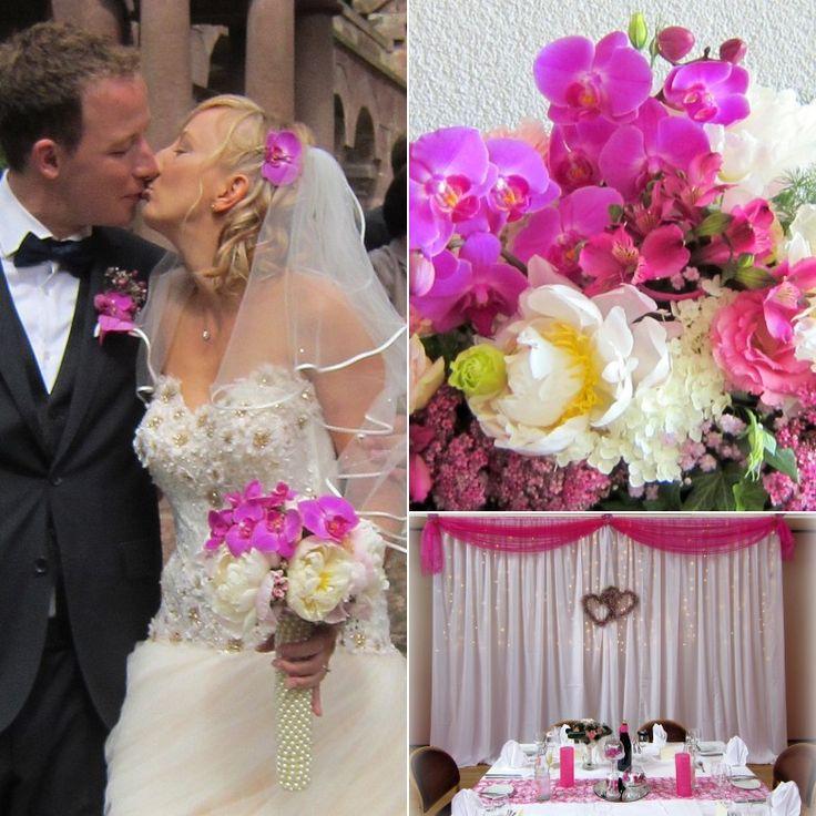 Hochzeit #Magenta #pink.  #Raumdeko #Kirchendeko #Tischdeko #Brautstrauss #orchidee #pfingstrosen #perlen #zepter #hochzeitsdeko #tischdeko #brauttisch #ehrenplatz #rosa #dekoservice #event #eventgestaltung #boho #bohobride # #vintagebraut #vintagewedding