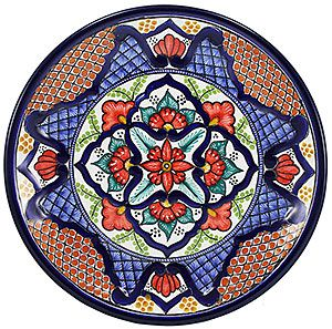 Bring southwestern appeal into your home with these vibrantly colored Talavera plates! These beautifully handcrafted plates by the renowned studio of Maximo Huerta will make a perfect addition to any room in your home. You are sure to find a uniquely designed plate that fits your style. Each authentic Talavera plate is made in Puebla, Mexico and is 100% lead free; chip resistant; and microwave, oven, and dishwasher safe! There is also an eyelet on each plate for easy wall hanging.