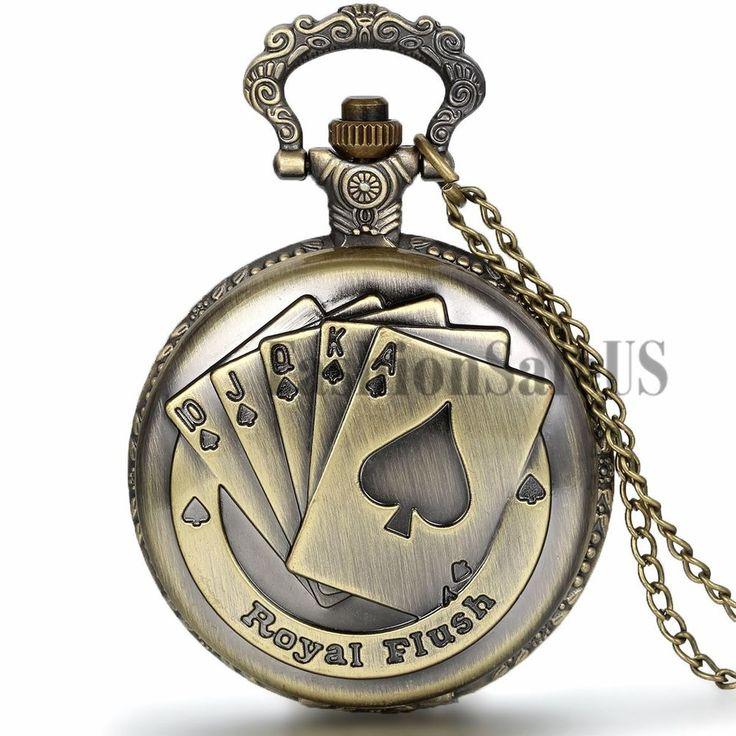Orologio Taschino Lega Collana Pendente Retro Copertina Poker Carta Stile