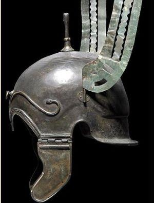 Celtiberian helmet unearthed at an archaeological site in the region of Zaragoza, Spain