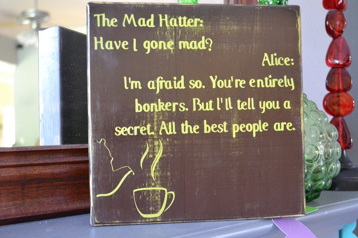 Mad Hatter Custom Wood Sign Hand Painted Geek Home