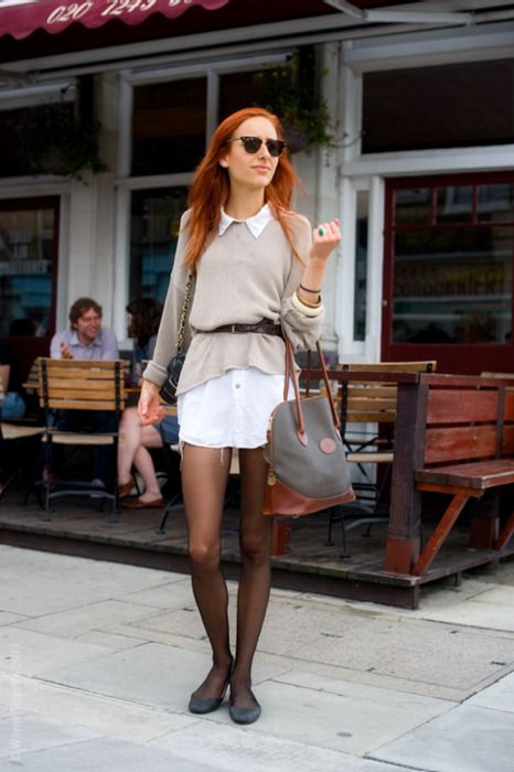 ~Fashion, Red Hair, White Shirts, Dresses Shirts, Fall Looks, Shirts Dresses, Fall Styles, Belts, Shirtdress And Sweaters Outfit