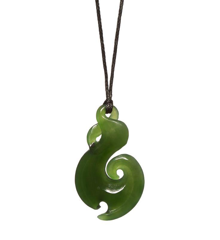 New Zealand Pounamu Fish Hook/Twist Necklace : Mountain Jade New Zealand