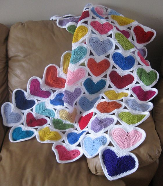 Little Heart Scrapghan from Julie Lapalme. Well named since it uses up scraps of leftover yarns. Designer says the hearts are fast, easy and addictive.