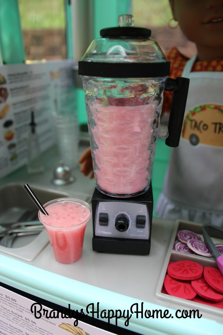 Create an American Girl Doll sized Vitamix blender from a Dollar Tree salt shaker and wood parts from Michael's Craft Store.