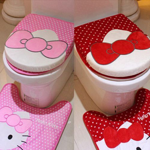 Cute Pink/Red 3pcs/set Hello Kitty Plush Bath Set Cartoon Toilet Lip Cover Sets  #New