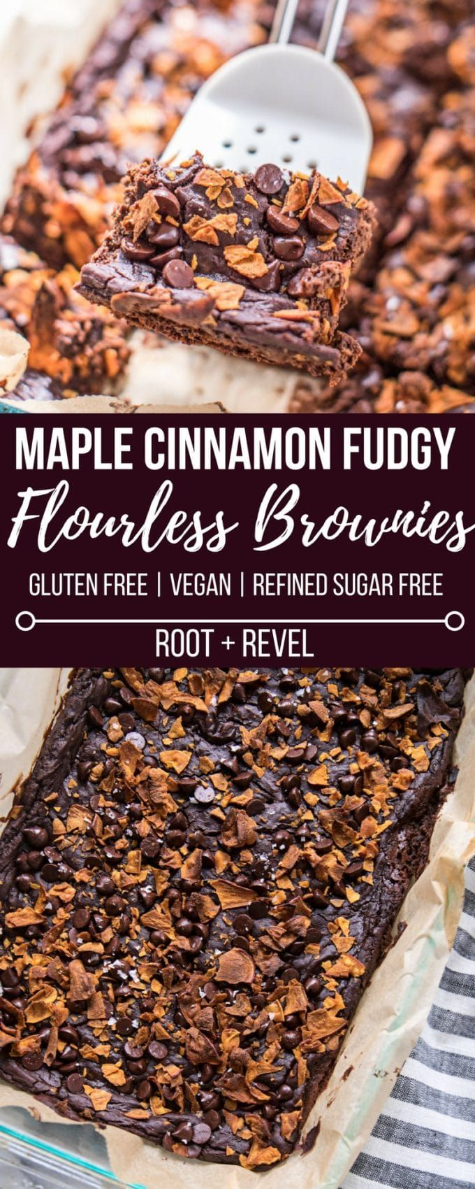 Looking for a healthy dessert recipe? Then you'll love these Maple Cinnamon Fudgy Flourless Brownies! Made with black beans, sweet potato, almond butter, cacao powder and baking soda, these gluten-free brownies are easy to make (one bowl!), refined sugar-free, vegan, nutrient-dense AND yet they're rich, decadent and super moist, gooey and fudgy! The perfect way to sneak more veggies and plant-based protein into your diet--no one will ever guess these flourless brownies are actually good for…