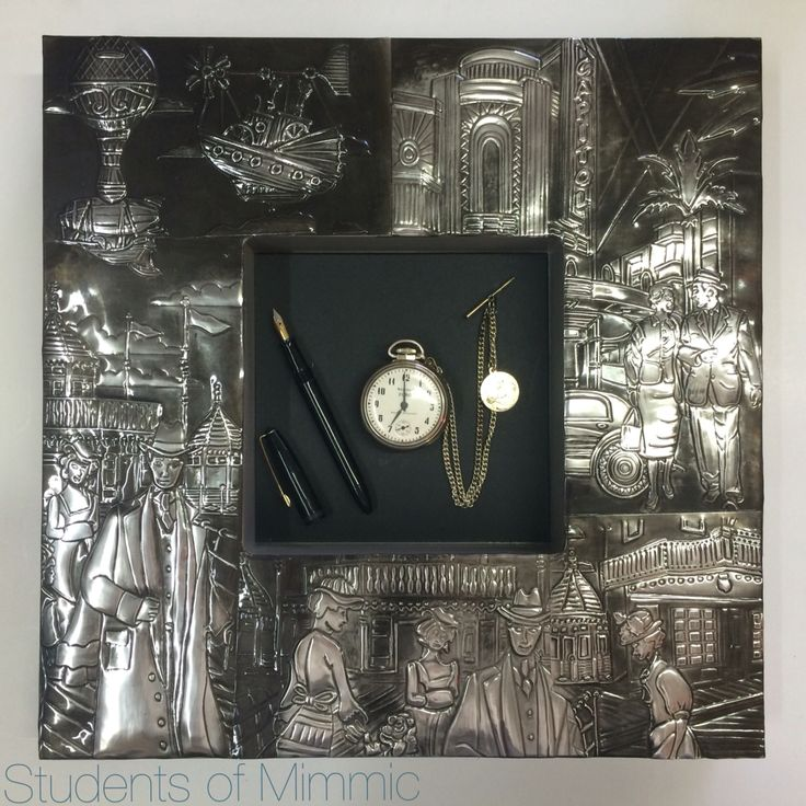 This detailed pewter work was done by Esther from our Thursday class, framing the old pocket watch and fountain pen perfectly. #pewter #creative #vintage #decor #frame #oldandinteresting